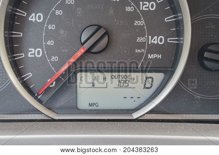 Extreme Hot As Shown On The Dashboard