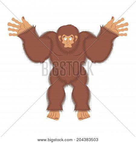 Bigfoot Guilty. Yeti Surprise. Abominable Snowman Culpablen. Vector Illustration
