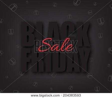 Black friday sale vector illustration. Black Friday Sale text on black background.