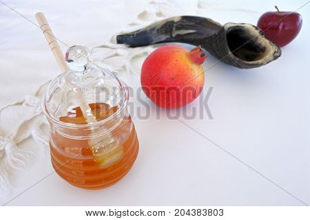 Honey Jar, Pomegranate Shofar And Red Apple