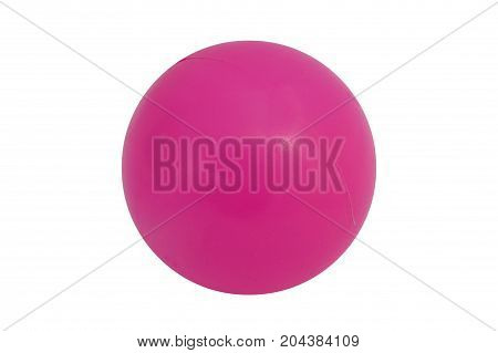 Pink plastic ball cut out on and isolated on a white background