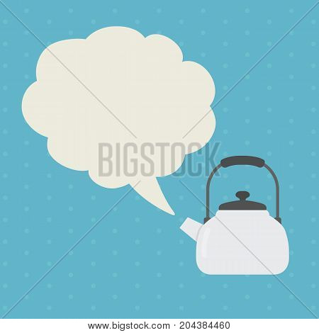 Kettle With Steam Illustration. Flat Design of White Kettle