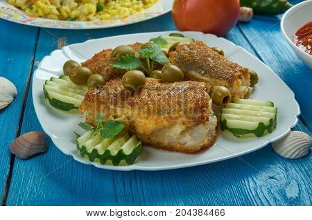 Mediterranean cuisine. Spanish-Style Cod Top view. close up meal