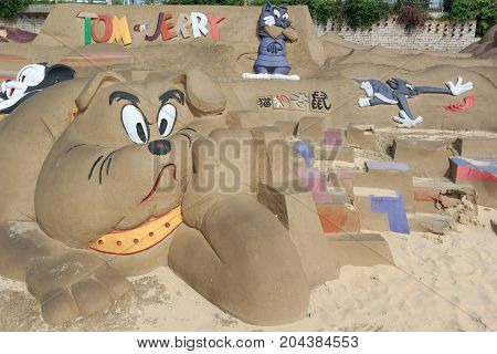 Sand Sculpture, Tom And Jerry