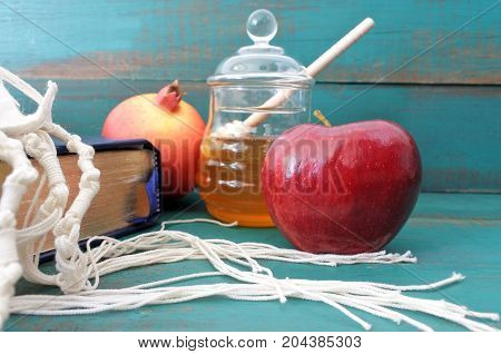 Torah Book Tallit Pomganet Honey And Apple Background