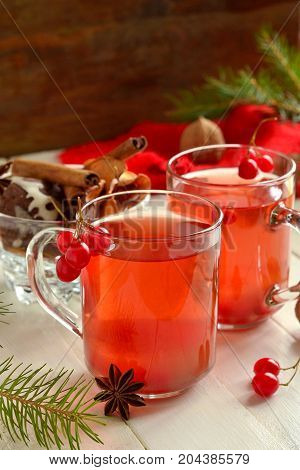 Christmas hot red tea with viburnum cookie and spices, vertical