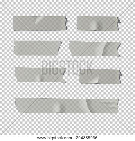 Vector realistic element. Adhesive tape set isolated on transparent background.