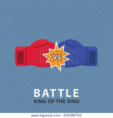 Versus Boxing Gloves. Boxing Battle Illustration. Red Versus Blue Boxing Glove illustration