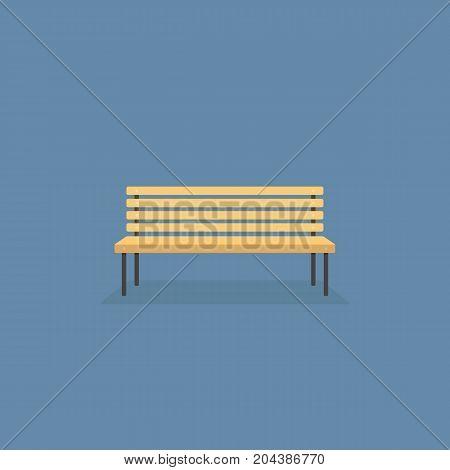 Wooden Park Bench Illustration. Flat Design of Brown Park Bench