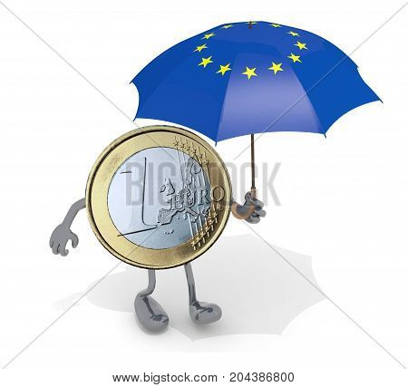 Euro Coin With Arms, Legs And Umbrella With Flag Of Europe On Hand