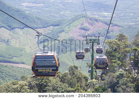 Da Nang, Vietnam - Sep 5, 2017: Tourist on cable cars visiting Ba Na Hills mountain resort, Da Nang, Vietnam.