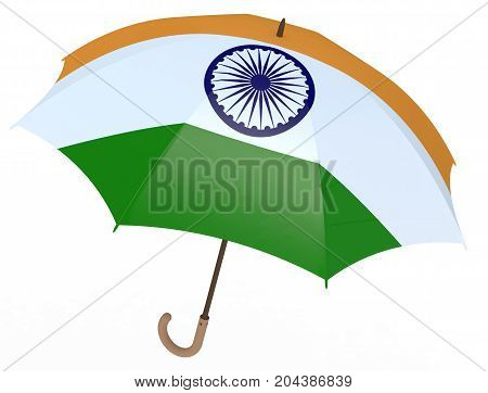 Umbrella With Flag Of India Isolated On White
