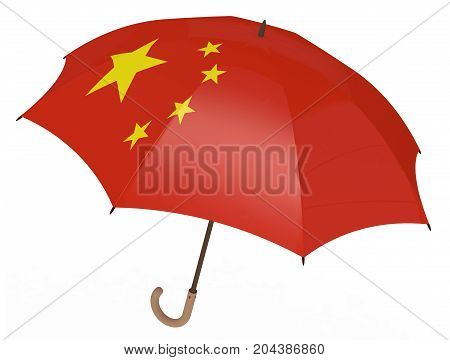 Umbrella With Flag Of China Isolated On White