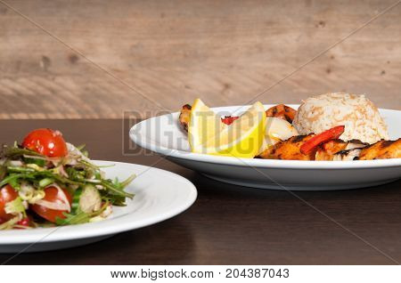 Grilled Meat Dish Of Shish Kebab With Onion