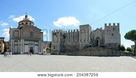 Prato, Italy, august 2, 2015: Emperors Castle and Santa Maria delle Carceri church in Prato