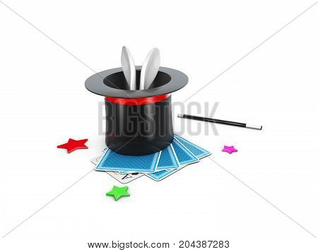 The Magic Hat With Shine, Rabbit And Stars. 3D Illustration
