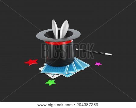 3D Illustration Of Magic Hat With Shine. Isolated Black