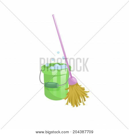 Cartoon house and apartment cleaning service icon. Old dry mop with handle and green plastic bucket with bubbles. Simple colors and gradient vector illustration.