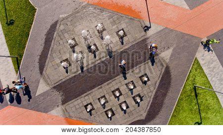 Vinnytsia Ukraine - September 01 2017: Fountain on the prospectus of astronauts. Top view.