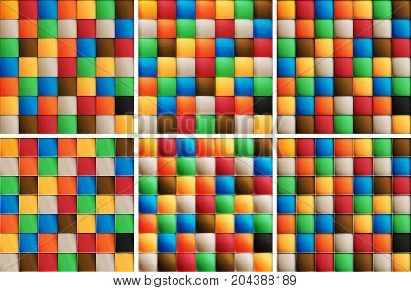 Multicolor set of square tiles six options of different materials Material design of transparent items you can place on any background