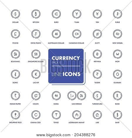 Line icons set. Currency market. Vector illustration.