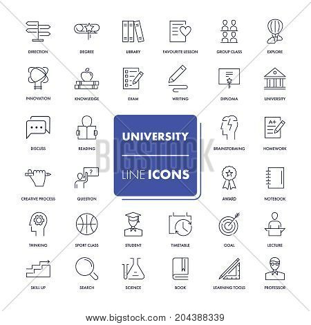 Line icons set. University pack. Vector illustration.