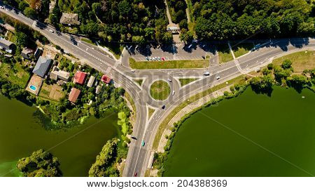 Top view of the road junction. Aerial view.