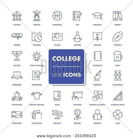 Line icons set. College pack. Vector illustration.