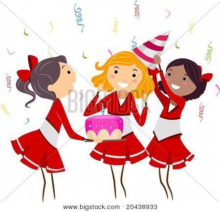 Abbildung einer Gruppe von Cheerleader feiern eine Party