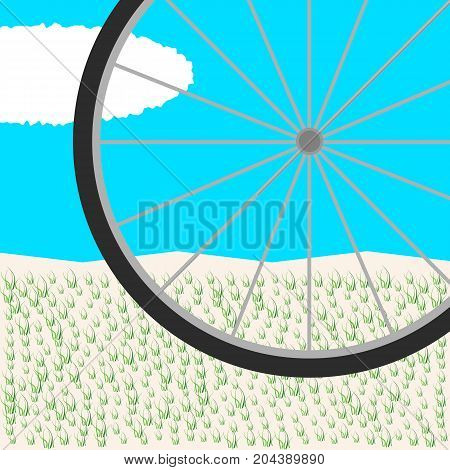 wheelchair wheel against the sky and grass. Bicycle wheel. abstract landscape. background pattern. vector illustration.