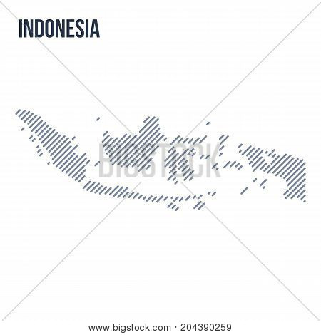 Vector Abstract Hatched Map Of Indonesia With Oblique Lines Isolated On A White Background.