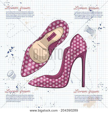 Vector sketch womens polka-dot stiletto pumps on a notebook page