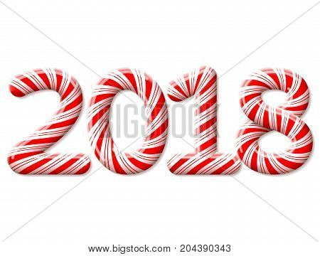 New Year 2018 in shape of candy stick isolated on white. Year number as striped holiday candies