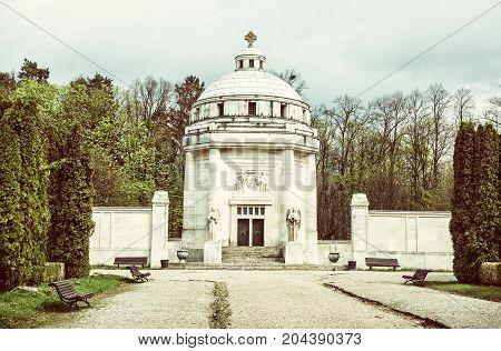 Mausoleum of The Andrassy family near castle Krasna Horka Slovak republic. Old photo filter. Memorial architecture.