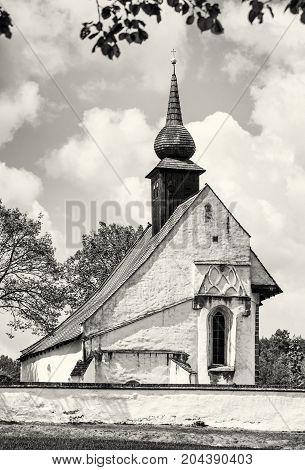 Chapel of Our Mother God near Veveri castle Moravia Czech republic. Travel destination. Religious architecture. Black and white photo.