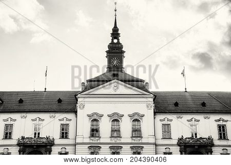 The municipality house of Brno city southern Moravia Czech republic. Architectural scene. Black and white photo.