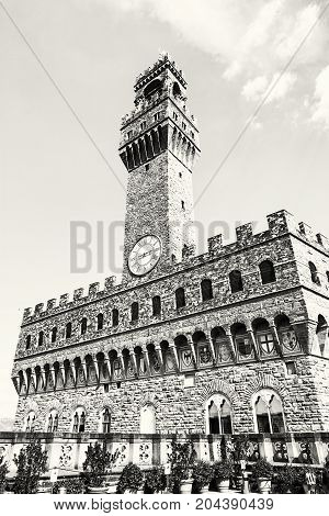 Palazzo Vecchio Florence Tuscany Italy. Cultural heritage. Black and white photo.