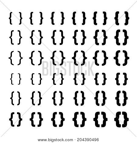 Curly vector braces with different thickness. Elements for print design projects