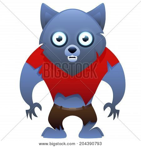 Werewolf cute cartoon character isolated on white background. Vector illustration
