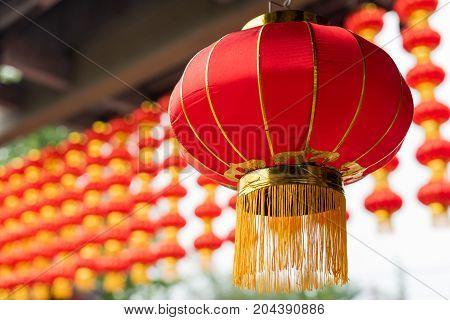 Chinese multiple red chinese lanterns at the lantern festival, Chengdu, China