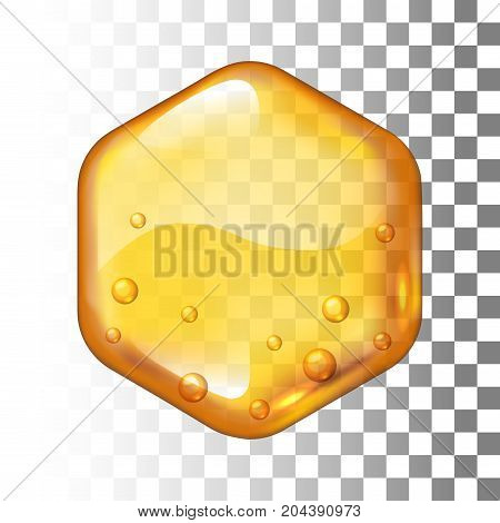 Realistic vector honey drop. Hexagon on transparent background. Eps10. RGB. Global colors