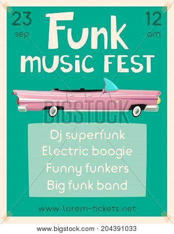 Funk music poster. Cartoon vector illustration. Vintage car. Retro style. Party and festival. For web or print. On wall in clubs, bars, pubs and public places.