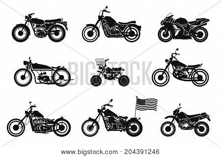 motorcycles vol. 1. set of vector motorcycles on white isolated background