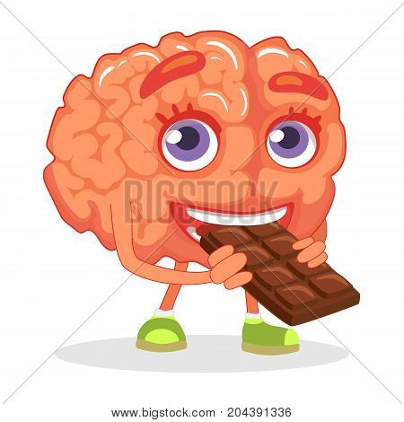 Brain nutrition concept. Brain eating chocolate illustration.