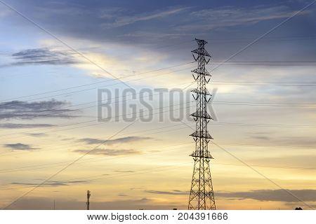 The electric pylon with the twilight scene.Abstract power scene
