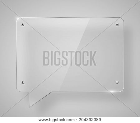 Empty transparent glass framework in form of chat bubble. Clean vector background