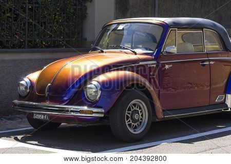 LASTRA A SIGNA, ITALY - AUGUST 30 2015: Vintage metalized cabriolet Beetle in Tuscany Italy