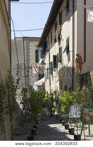 LASTRA A SIGNA, ITALY - AUGUST 30 2015: Lastra a Signa municipality in Tuscany historic city centre