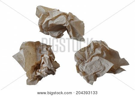 Piece paper napkin brown isolated on white background with clipping path