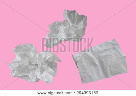 Piece paper tissue white isolated on pink background with clipping path